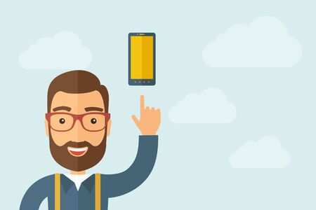 A Man pointing the smartphone icon.