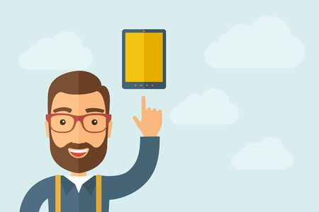 using tablet: A Man pointing touch screen tablet icon. Illustration