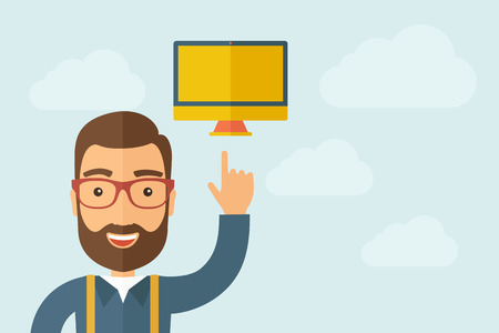using tablet: A Man pointing the monitor icon. A contemporary style with pastel palette, light blue cloudy sky background. Vector flat design illustration. Horizontal layout with text space on right part.