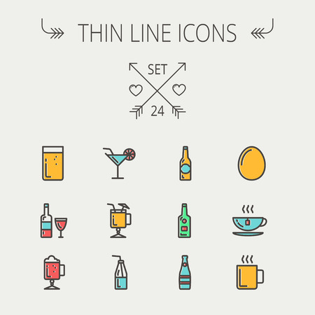 grinder: Food and drink thin line icon set for web and mobile. Set includes - soda, wine, whisky, coffee, hot choco, beer, ice tea, egg  icons. Modern minimalistic flat design. Vector icon with dark grey outline and offset colour on light grey background