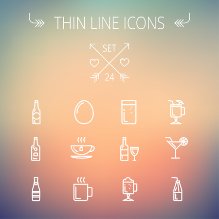 Food and drink thin line icon set for web and mobile. Set includes- soda, wine, whisky, coffee, hot choco, beer, ice tea, egg icons. Modern minimalistic flat design. Vector white icon on gradient mesh background.