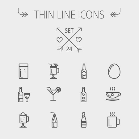 ice tea: Food and drink thin line icon set for web and mobile. Set includes-soda, wine, whisky, coffee, hot choco, beer, ice tea, egg icons. Modern minimalistic flat design. Vector dark grey icon on light grey background. Illustration