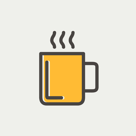 Mug of hot choco icon thin line for web and mobile, modern minimalistic flat design. Vector icon with dark grey outline and offset colour on light grey background. Vector