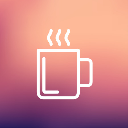 Mug of hot choco icon thin line for web and mobile, modern minimalistic flat design. Vector white icon on gradient mesh background. Vector