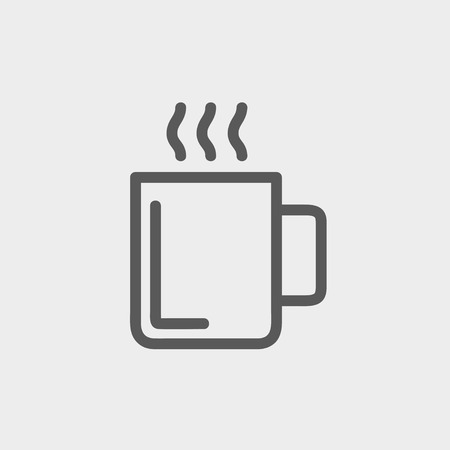 choco: Mug of hot choco icon thin line for web and mobile, modern minimalistic flat design. Vector dark grey icon on light grey background.