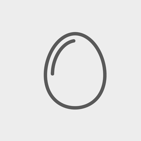 Egg icon thin line for web and mobile, modern minimalistic flat design. Vector dark grey icon on light grey background. Illustration