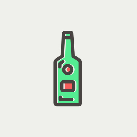 whisky bottle: Bottle of whisky icon thin line for web and mobile, modern minimalistic flat design. Vector icon with dark grey outline and offset colour on light grey background.