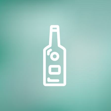 whisky bottle: Bottle of whisky icon thin line for web and mobile, modern minimalistic flat design. Vector white icon on gradient mesh background.