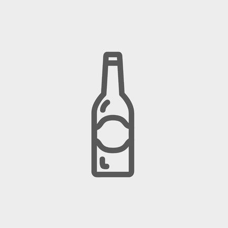ivresse: Lumi�re bouteille de bi�re ic�ne fine ligne pour le web et mobile, design plat moderne et minimaliste. Vecteur gris fonc� ic�ne sur fond gris clair.