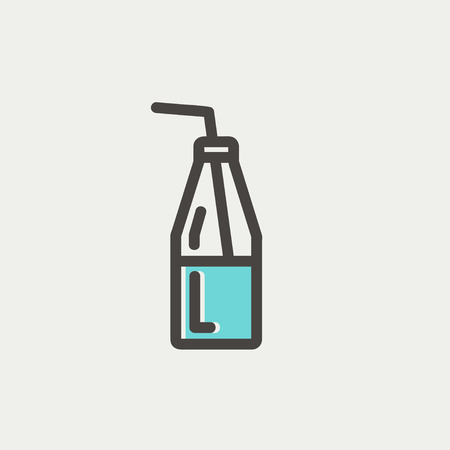 glass reflection: Bottle of milk with straw icon thin line for web and mobile, modern minimalistic flat design. Vector icon with dark grey outline and offset colour on light grey background.