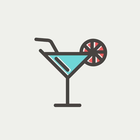 margarita drink: Margarita drink with lemon icon thin line for web and mobile, modern minimalistic flat design. Vector icon with dark grey outline and offset colour on light grey background.