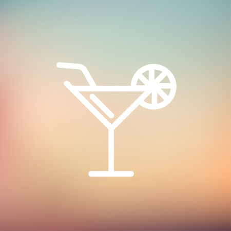 margarita drink: Margarita drink with lemon icon thin line for web and mobile, modern minimalistic flat design. Vector white icon on gradient mesh background. Illustration