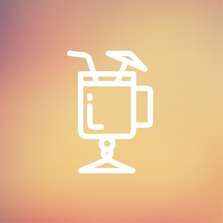 ice tea: Cold ice tea with straw icon thin line for web and mobile, modern minimalistic flat design. Vector white icon on gradient mesh background.