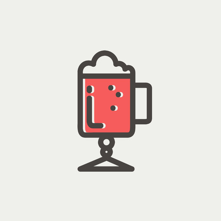 Mug of beer icon thin line for web and mobile, modern minimalistic flat design. Vector icon with dark grey outline and offset colour on light grey background. Vector