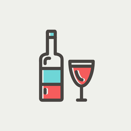 bourbon whisky: Bottle of whisky icon thin line for web and mobile, modern minimalistic flat design. Vector icon with dark grey outline and offset colour on light grey background.