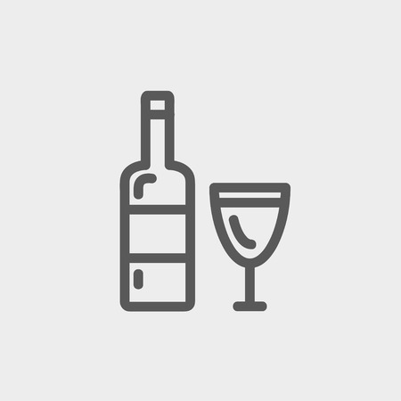 brandy: Bottle of whisky and a glass icon thin line for web and mobile, modern minimalistic flat design. Vector dark grey icon on light grey background.