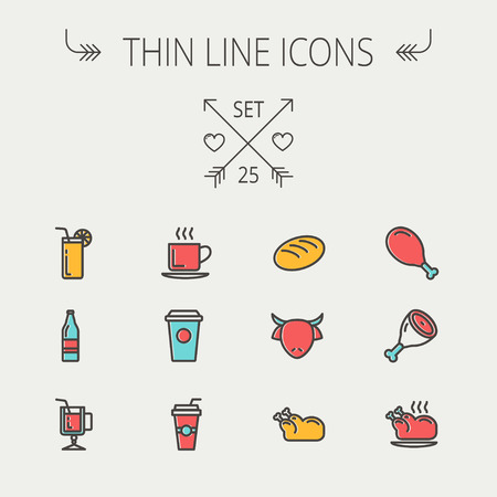 Food and drink thin line icon set for web and mobile. Set includes -coffee, soda, lime, juice, bread, poprk meat, chicken, cow, fried chicken icons. Modern minimalistic flat design. Vector icon with dark grey outline and offset colour on light grey backgr Vector