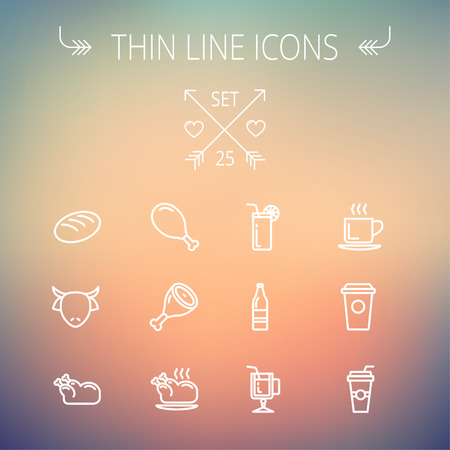 Food and drink thin line icon set for web and mobile. Set includes- coffee, soda, lime, juice, bread, poprk meat, chicken, cow, fried chicken  icons. Modern minimalistic flat design. Vector white icon on gradient mesh background.