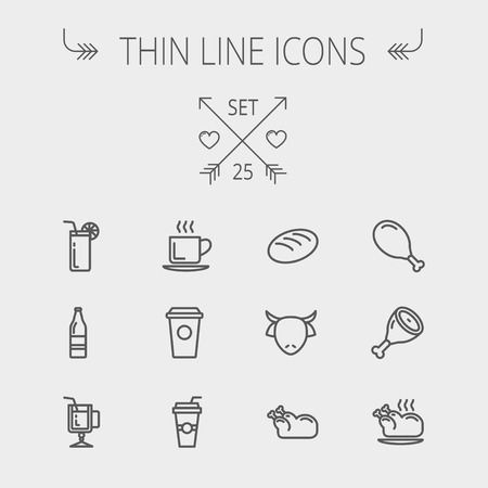 Food and drink thin line icon set for web and mobile. Set includes- coffee, soda, lime, juice, bread, poprk meat, chicken, cow, fried chicken icons. Modern minimalistic flat design. Vector dark grey icon on light grey background. Vector