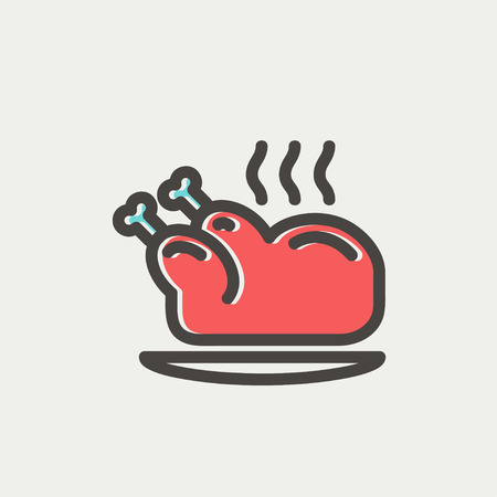 Baked whole chicken icon thin line for web and mobile, modern minimalistic flat design. Vector icon with dark grey outline and offset colour on light grey background. Illustration