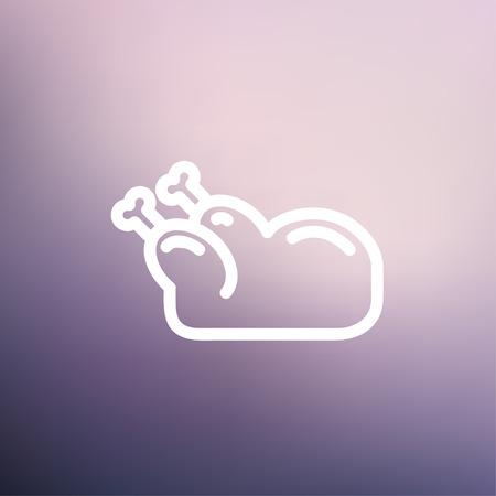 rindfleisch roh: Raw chicken icon d�nne Linie f�r Web und Mobile, modern minimalistisch flache Bauweise. Vektor-Schaltfl�chen auf Verlaufsgitterhintergrund.