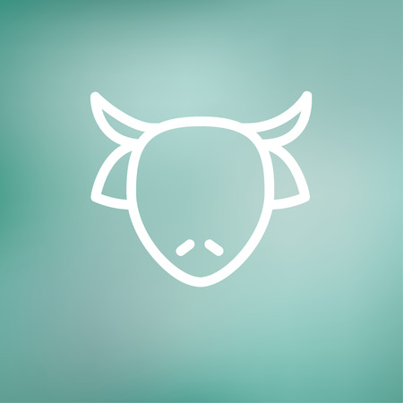 cow head: Cow head icon thin line for web and mobile, modern minimalistic flat design. Vector white icon on gradient mesh background.