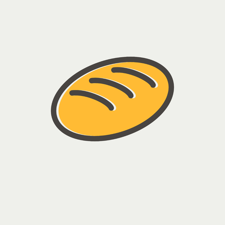 palatable: Bread icon thin line for web and mobile, modern minimalistic flat design. Vector icon with dark grey outline and offset colour on light grey background. Illustration