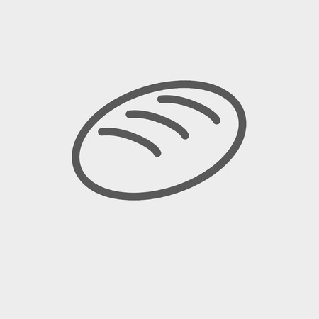 Bread icon thin line for web and mobile, modern minimalistic flat design. Vector dark grey icon on light grey background. Illustration