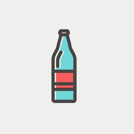 Soda bottle icon thin line for web and mobile, modern minimalistic flat design. Vector icon with dark grey outline and offset colour on light grey background. 向量圖像