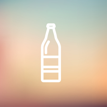 aerated: Soda bottle icon thin line for web and mobile, modern minimalistic flat design. Vector white icon on gradient mesh background.