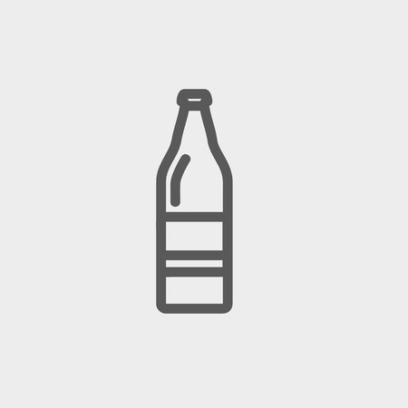 carbonated beverage: Soda bottle icon thin line for web and mobile, modern minimalistic flat design. Vector dark grey icon on light grey background. Illustration