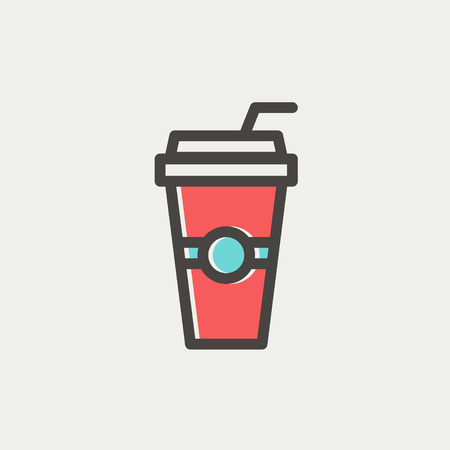 plastic straw: Soda in a plastic cup with straw icon thin line for web and mobile, modern minimalistic flat design. Vector icon with dark grey outline and offset colour on light grey background. Illustration
