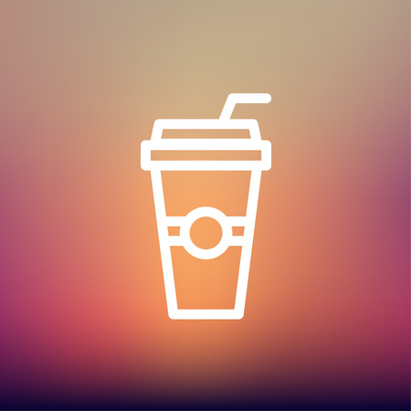 plastic straw: Soda in a plastic cup with straw icon thin line for web and mobile, modern minimalistic flat design. Vector white icon on gradient mesh background.