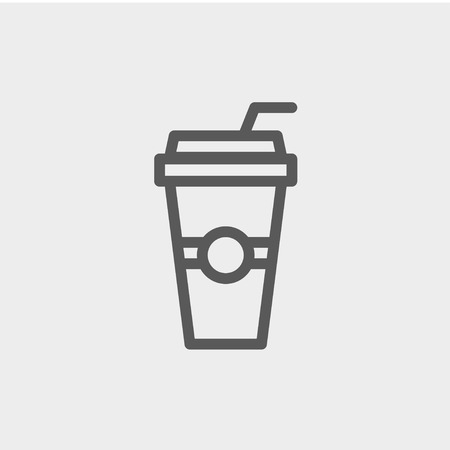 plastic straw: Soda in a plastic cup with straw icon thin line for web and mobile, modern minimalistic flat design. Vector dark grey icon on light grey background.
