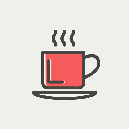 Cup of hot coffee icon thin line for web and mobile, modern minimalistic flat design. Vector icon with dark grey outline and offset colour on light grey background. Vector