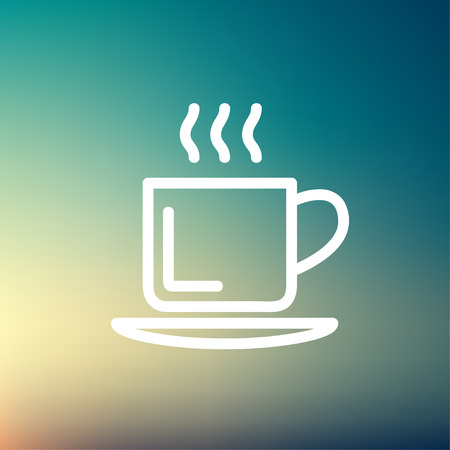 Cup of hot coffee icon thin line for web and mobile, modern minimalistic flat design. Vector white icon on gradient mesh background. Vector