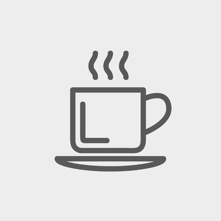 Cup of hot coffee icon thin line for web and mobile, modern minimalistic flat design. Vector dark grey icon on light grey background. Stock Illustratie