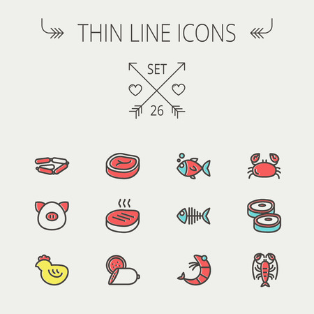 Food and drink thin line icon set for web and mobile. Set includes -steak, sausages, fish, crab, shrimp, lobster icons. Modern minimalistic flat design. Vector icon with dark grey outline and offset colour on light grey background