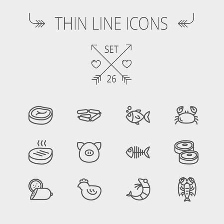 Food and drink thin line icon set for web and mobile. Set includes- steak, sausages, fish, crab, shrimp, lobster icons. Modern minimalistic flat design. Vector dark grey icon on light grey background.