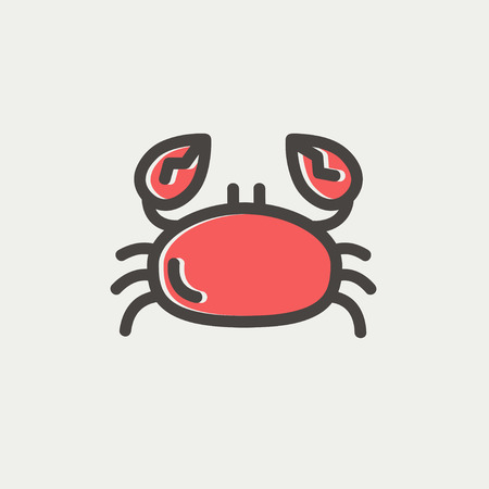thin shell: Crab icon thin line for web and mobile, modern minimalistic flat design. Vector icon with dark grey outline and offset colour on light grey background.