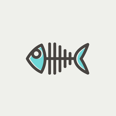 illustration of black fishbone: Fish skeleton icon thin line for web and mobile, modern minimalistic flat design. Vector icon with dark grey outline and offset colour on light grey background.