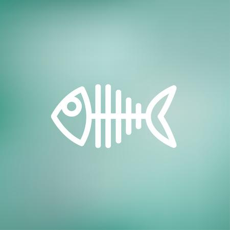 skeleton of fish: Icono esqueleto delgada l�nea Pescado para web y m�vil, dise�o plano minimalista moderno. Vector icono blanco sobre fondo de malla de degradado. Vectores