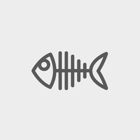 Fish skeleton icon thin line for web and mobile, modern minimalistic flat design. Vector dark grey icon on light grey background.