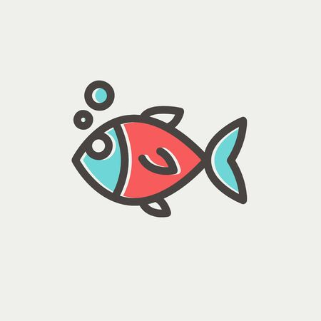 image size: Little fish icon thin line for web and mobile, modern minimalistic flat design. Vector icon with dark grey outline and offset colour on light grey background. Illustration