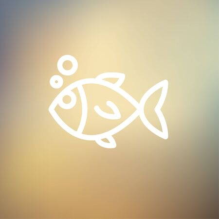 image size: Little fish icon thin line for web and mobile, modern minimalistic flat design. Vector white icon on gradient mesh background.