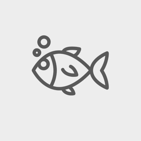 minimal: Little fish icon thin line for web and mobile, modern minimalistic flat design. Vector dark grey icon on light grey background.