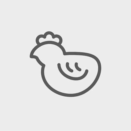 Chick icon thin line for web and mobile, modern minimalistic flat design. Vector dark grey icon on light grey background. Illustration
