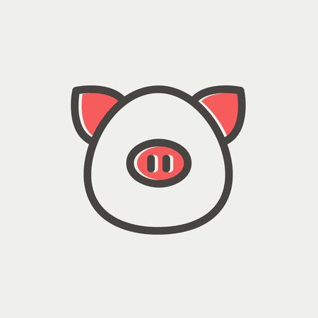 jabali: Cerdo icono de cara delgada l�nea para web y m�vil, dise�o plano minimalista moderno. Vector icono con el esquema de color gris oscuro y el color offset sobre fondo gris claro.