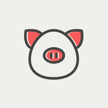 Pig face icon thin line for web and mobile, modern minimalistic flat design. Vector icon with dark grey outline and offset colour on light grey background. Illustration