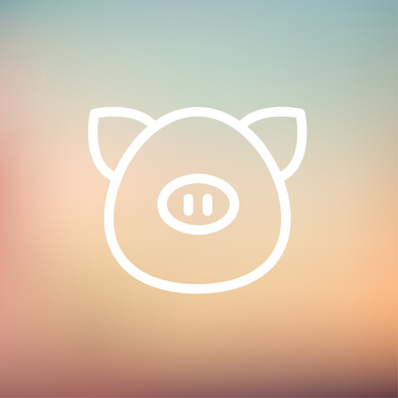 Pig face icon thin line for web and mobile, modern minimalistic flat design. Vector white icon on gradient mesh background. Vector